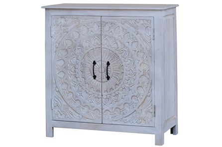White Wash Hand Carved 2 Door Cabinet