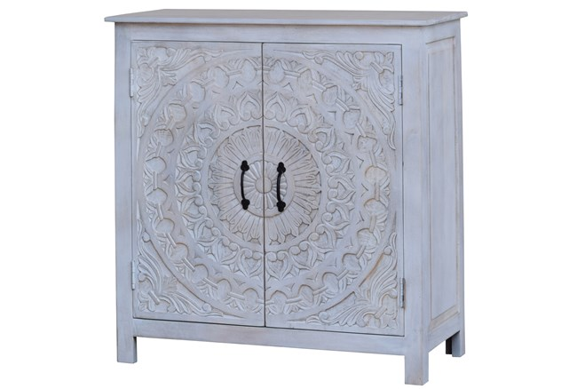 White Wash Hand Carved 2 Door Cabinet  - 360