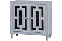 White Wash Glass Front 2 Door Cabinet