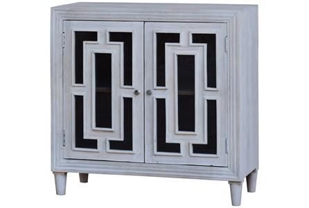 White Wash Glass Front 2 Door Cabinet
