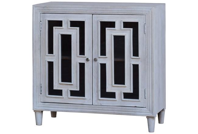 White Wash Glass Front 2 Door Cabinet  - 360