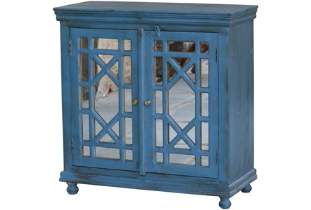 Blue Glass Front 2 Door Cabinet