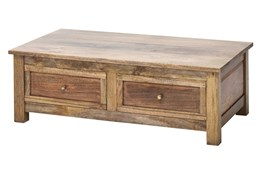 Natural Reclaimed Wood 2 Drawer Coffee Table