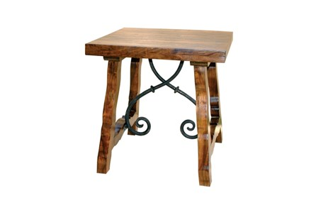 Natural Wood + Metal End Table