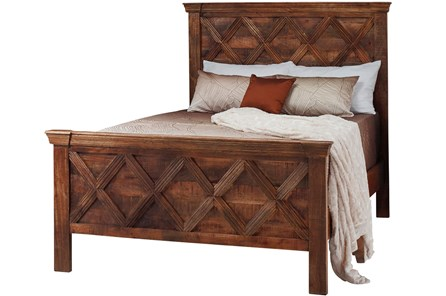 Dark Pieced Pattern Eastern King Bed