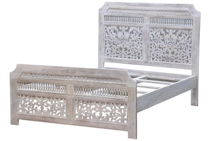 White Wash Tienerbed.White Wash Hand Carved Eastern King Bed