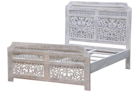 White Wash Hand Carved Eastern King Bed