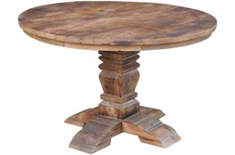 Round Natural Wood Column Dining Table