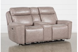 "Valentin Latte 78"" Power Reclining Console Loveseat With Power Headrest & Usb"