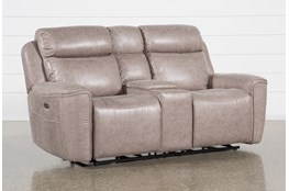 Valentin Latte Power Reclining Console Loveseat With Power Headrest & Usb