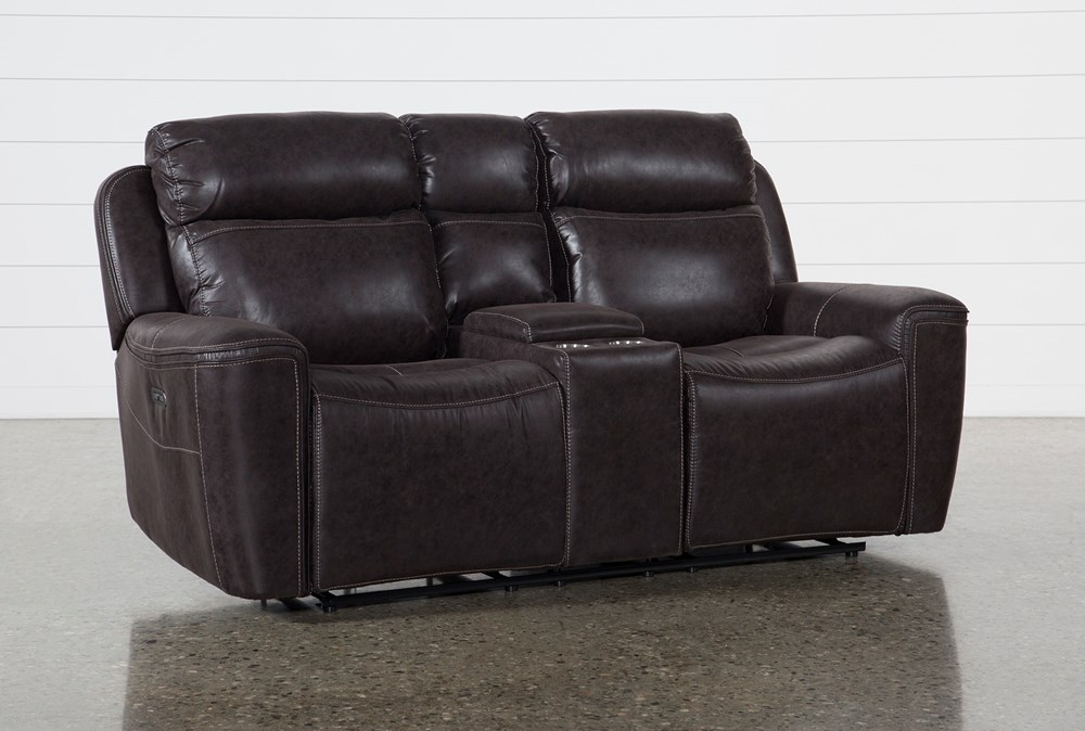 Valentin Charcoal Power Reclining Console Loveseat With Power Headrest & Usb