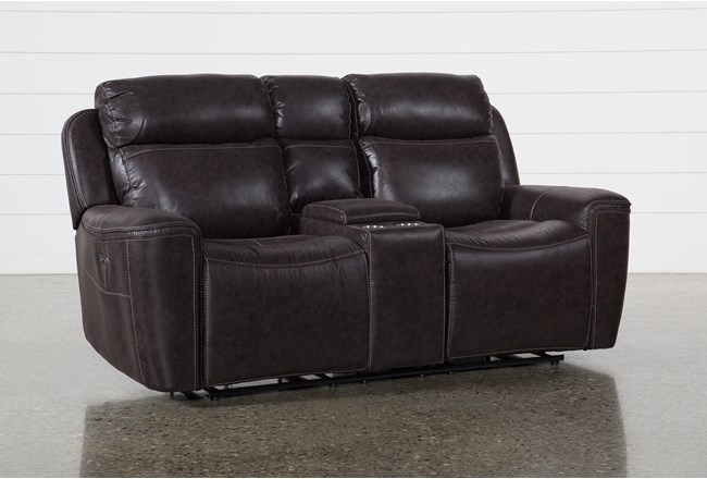 Valentin Charcoal Power Reclining Console Loveseat With Power Headrest & Usb - 360