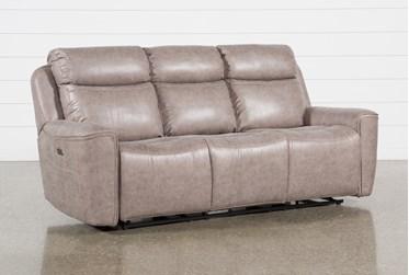 "Valentin Latte 88"" Power Reclining Sofa With Power Headrest & Usb"