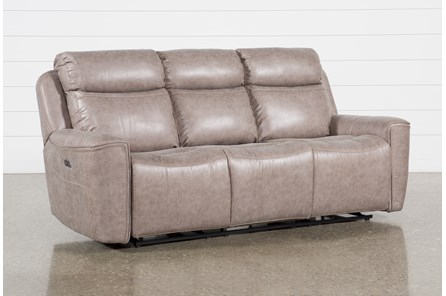 Valentin Latte Power Reclining Sofa With Power Headrest & Usb