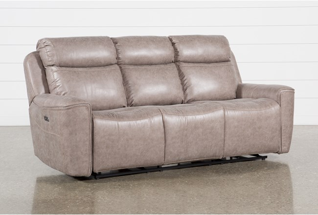 "Valentin Latte 88"" Power Reclining Sofa With Power Headrest & Usb - 360"