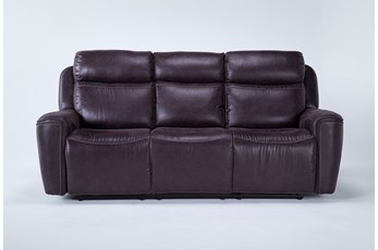 "Valentin Charcoal 88"" Power Reclining Sofa With Power Headrest & Usb"
