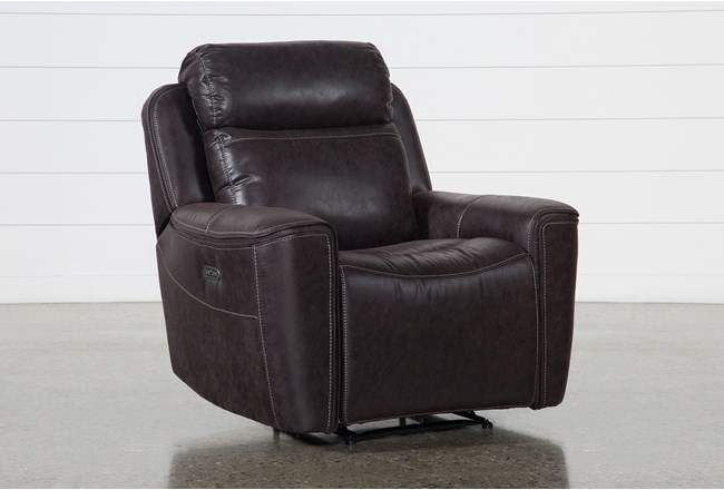 Valentin Charcoal Power Recliner With Power Headrest & Usb - 360