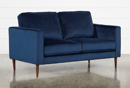 Magnificent Fairfax Denim Velvet Loveseat Andrewgaddart Wooden Chair Designs For Living Room Andrewgaddartcom
