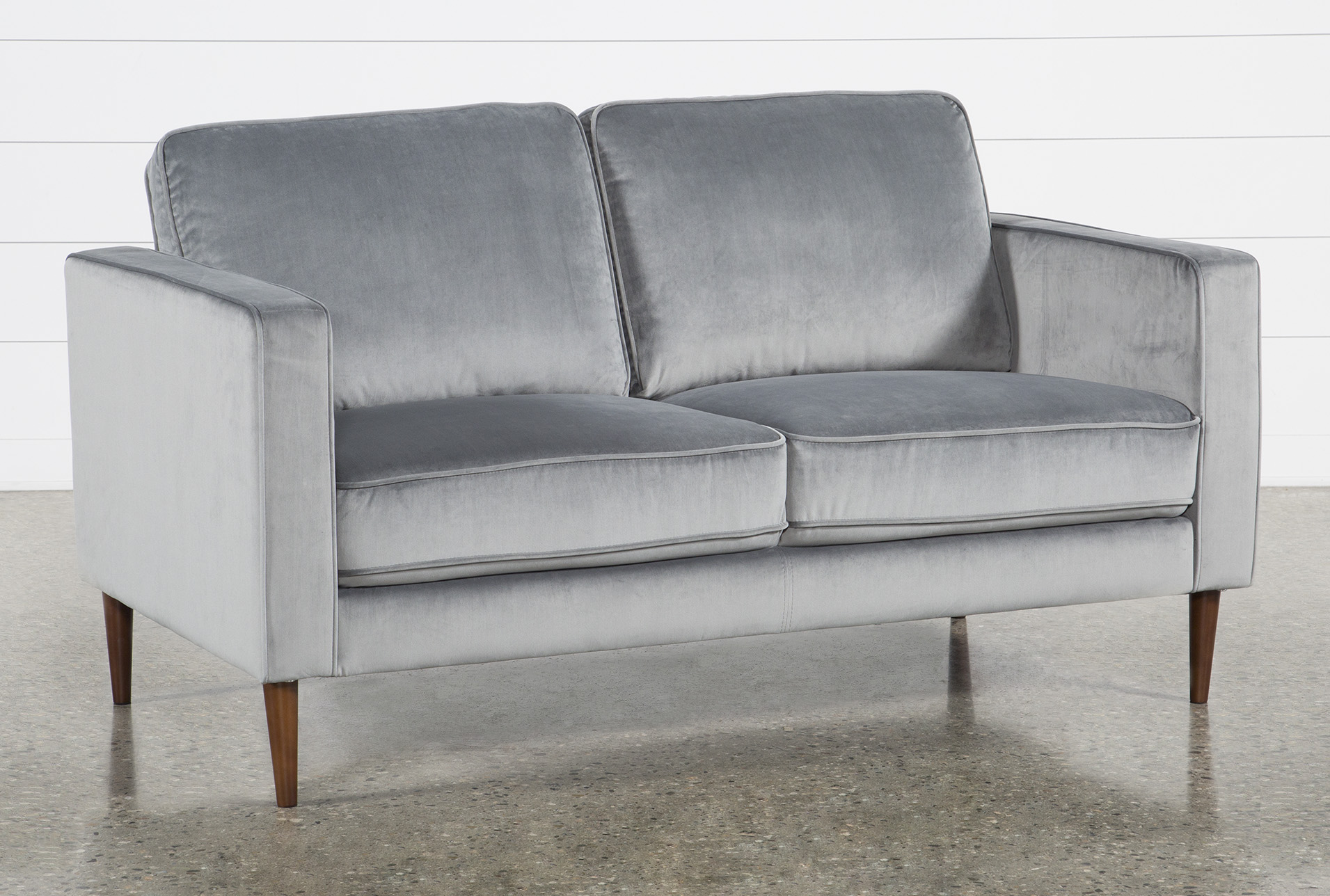 Fairfax Steel Grey Velvet 63 Loveseat Living Spaces