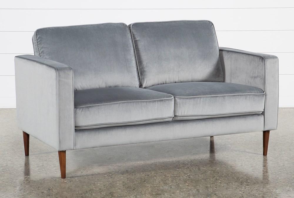 Fairfax Steel Grey Velvet Loveseat