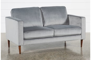 Fairfax Steel Grey Velvet Loveseat