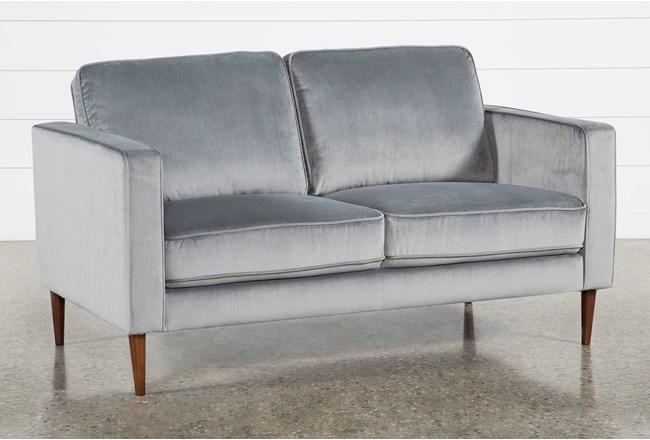 Fairfax Steel Grey Velvet Loveseat - 360
