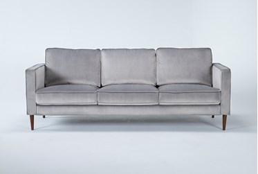 "Fairfax Steel Grey Velvet 90"" Sofa"
