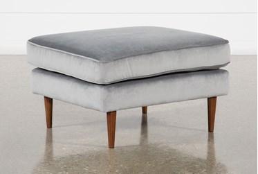 Fairfax Steel Grey Velvet Ottoman