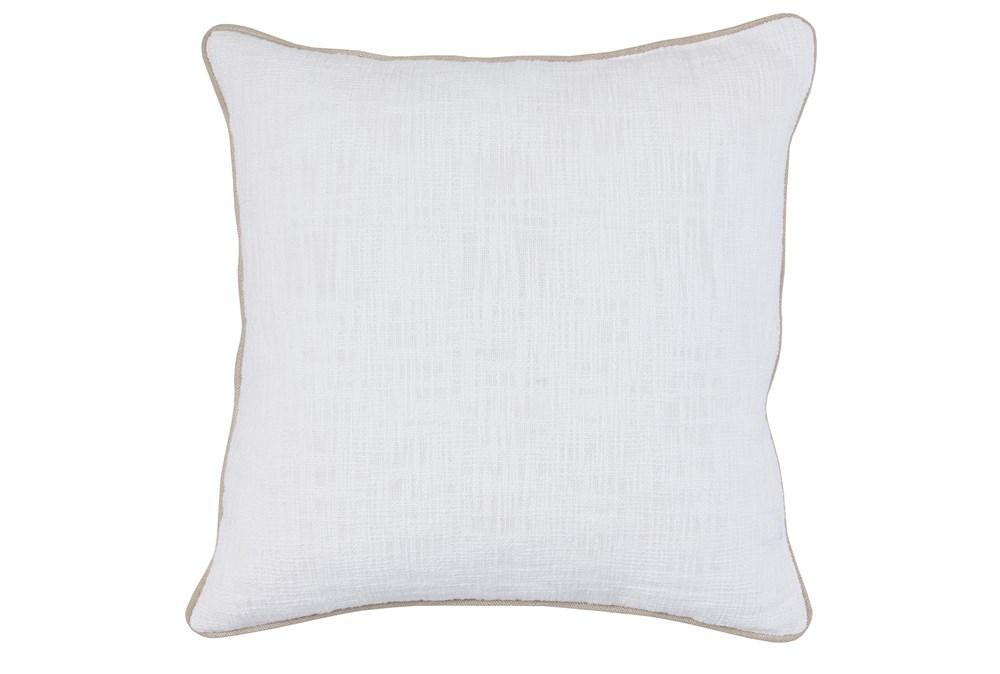 Accent Pillow-White Cotton Slub W/ Linen Trim 22X22