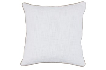 Accent Pillow-White Cotton Slub With Linen Trim 22X22