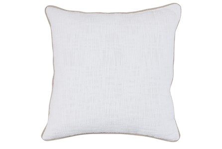Accent Pillow-White Cotton Slub W/ Linen Trim 22X22