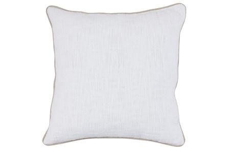 22X22 White Textured Cotton Solid Throw Pillow - Main