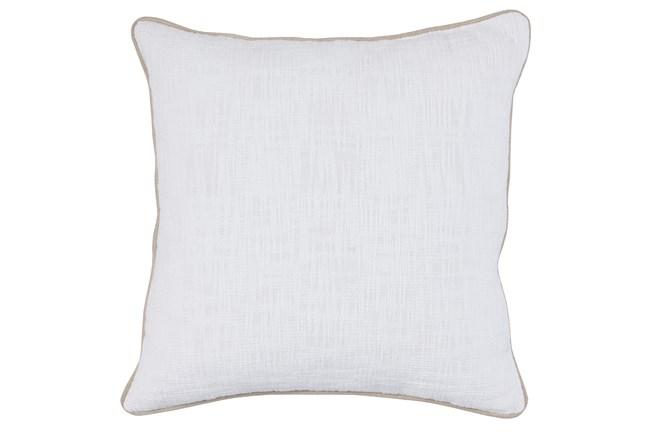 Accent Pillow-White Cotton Slub W/ Linen Trim 22X22 - 360