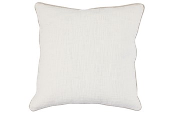 Accent Pillow-Ivory Cotton Slub W/ Linen Trim 22X22