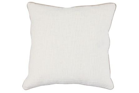 Accent Pillow-Ivory Cotton Slub W/ Linen Trim 22X22