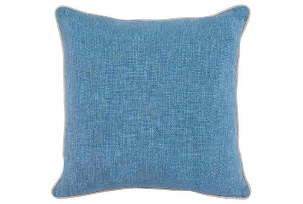 Accent Pillow-French Blue Cotton Slub W/ Linen Trim
