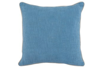 Accent Pillow-French Blue Cotton Slub With Linen Trim