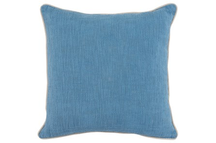 Accent Pillow-French Blue Cotton Slub W/ Linen Trim