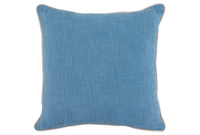 Accent Pillow-French Blue Cotton Slub W/ Linen Trim - 360