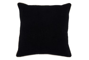 22X22 Black Textured Cotton Solid Throw Pillow