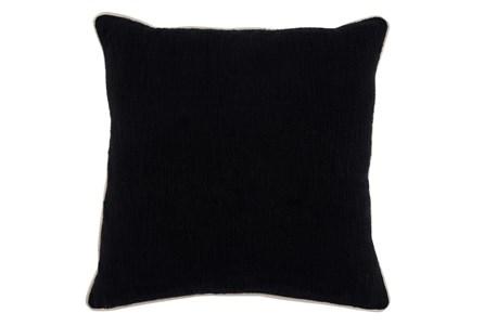 Accent Pillow-Black Cotton Slub W/ Linen Trim 22X22