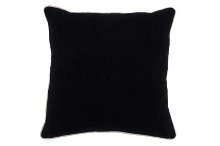 Accent Pillow-Black Cotton Slub W/ Linen Trim 22X22