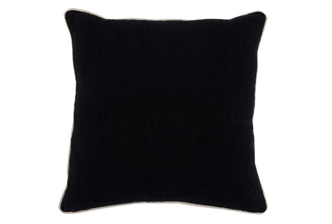 22X22 Black Textured Cotton Solid Throw Pillow - 360