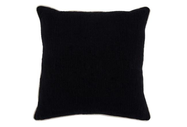 Accent Pillow-Black Cotton Slub W/ Linen Trim 22X22 - 360