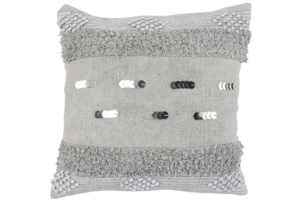 Accent Pillow-Grey Boho Shaggy Stripes 22X22