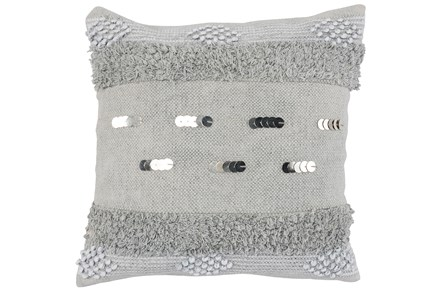 Accent Pillow-Grey Boho Shaggy Stripes 22X22