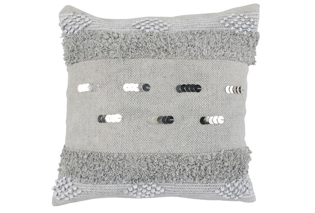 Accent Pillow-Grey Boho Shaggy Stripes 22X22 - 360