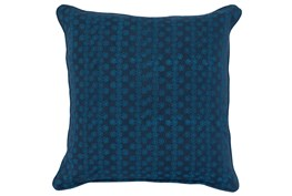 Accent Pillow-Two Tone Blue Print Block Stripe 22X22