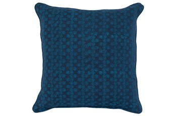 Accent Pillow-Two Tone Blue Print Block Stripe 22X22