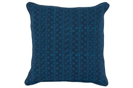 Accent Pillow-Two Tone Blue Print Block Stripe 22X22 - Main